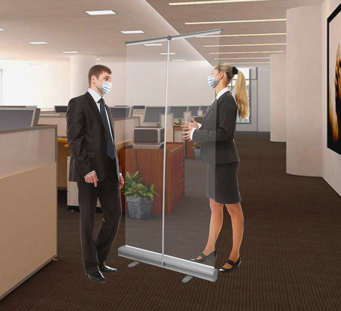 LSJI Retractable screen display roll up banner Safety Face Shields Partitions Protective Safety Face ShieldsTransparent Free Standing Sneezes Panel Workers Customers Protection Window Reception Scre