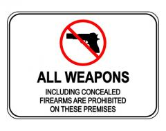 All Weapons Concealed Firearms Prohibited Sign With Symbol Sign