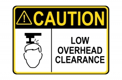 ANSI CAUTION Low Overhead Clearance Sign