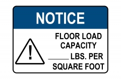 ANSI NOTICE Floor Load Capacity Per Square Foot Sign
