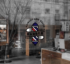 Barber Shop Clear Window Decals