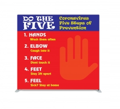 Coronavirus Five Steps of Prevention Straight Pillow Case Backdrop