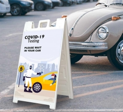 Covid-19 Testing Please Wait in your Car Signicade White