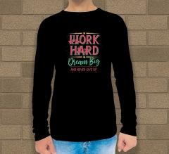 Black Cotton Printed Long Sleeves T-Shirt - Crew Neck