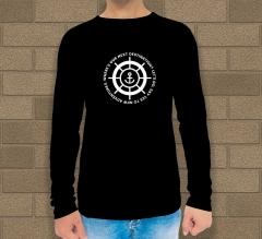 Custom Black Printed Long Sleeves T-Shirt - Crew Neck
