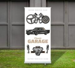 Garage Roll Up Banner Stands