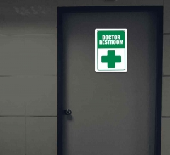 Reflective Hospital Restroom Signs
