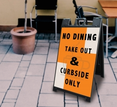 No Dining Take Out and Curbside Signicade Black