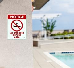 No Smoking Pool Signs