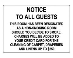 Non-Smoking Room Cleaning Charge Sign