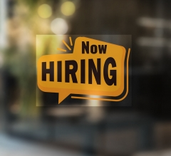 Now Hiring Clear Window Decals