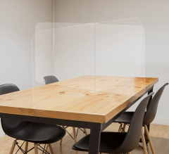 Office Tabletop Desk Divider Sneeze Guard - Clear Acrylic (4 person)
