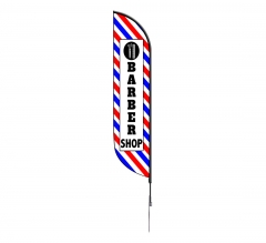 Pre-Printed Barber Shop Feather Flag