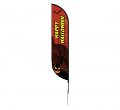 Pre-Printed Happy Halloween Feather Flag - Black