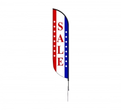 Pre-Printed Sale Feather Flag - Red, White & Blue