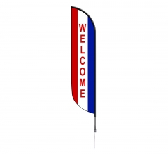 Pre-Printed Welcome Feather Flag - Red, White & Blue