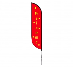 Pre-Printed Welcome Feather Flag - Yellow & Red