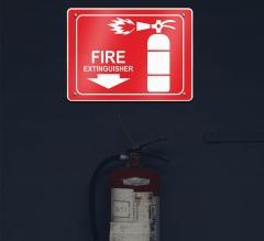 Reflective Fire Extinguisher Restroom Signs