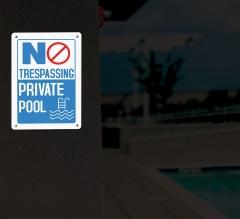 Reflective No Trespassing Pool Signs