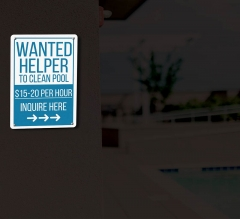 Reflective Wanted Pool Signs