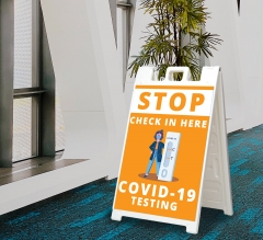 Stop Check in Here for Covid-19 Testing Signicade White