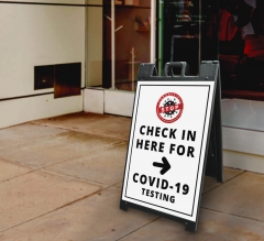 Stop Check in Here for Covid-19 Testing Signicade Black