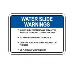Waterslide Warnings Sign