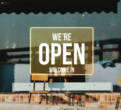 We Are Open Clear Window Decals