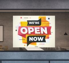 We Are Open Window Decals Opaque