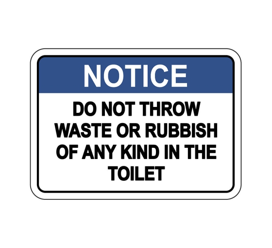 ANSI NOTICE Do Not Throw Waste Or Rubbish Toilet Sign