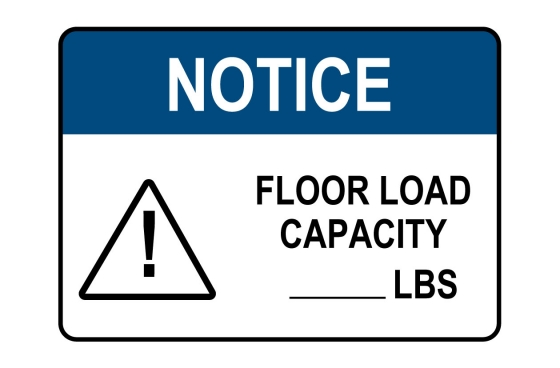 ANSI NOTICE Floor Load Capacity Sign
