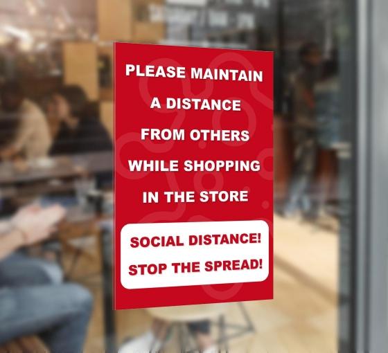 Please Maintain Distance Window Decals