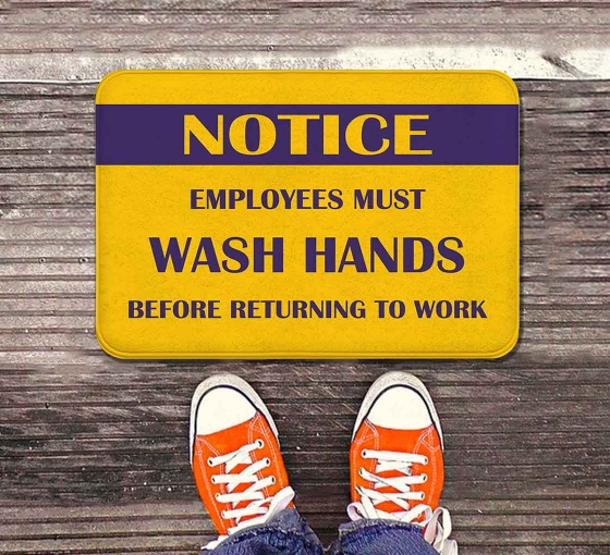 Notice Employees Must Wash Hands Indoor Floor Mats