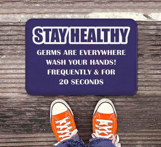Stay Healthy Germs Everywhere Wash your Hands Indoor Floor Mats