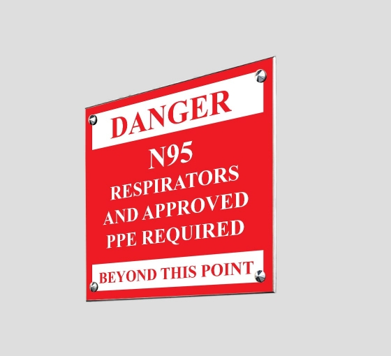 Danger Approved PPE Beyond this Point Acrylic Signs