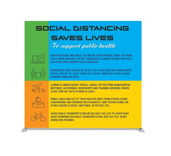 Social Distancing saves Lives Straight Pillow Case Backdrop