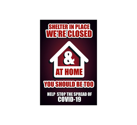 Shelter in Place Stay at Home Stop the Spread Window Clings