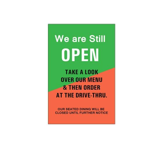 We are Still Open Window Decals