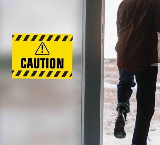 Caution Window Decals Opaque