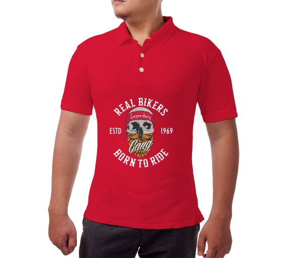 Red Cotton Polo Shirt - Printed