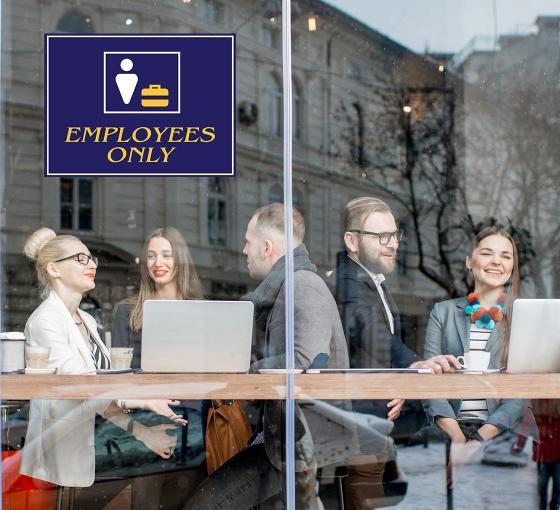 Employee Only Window Decals Opaque
