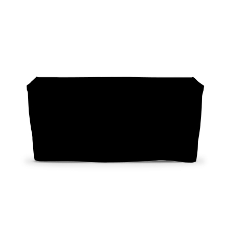 4' Fitted Table Covers - Black - 4 Sided