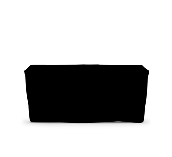 6' Fitted Table Covers - Black - 4 Sided