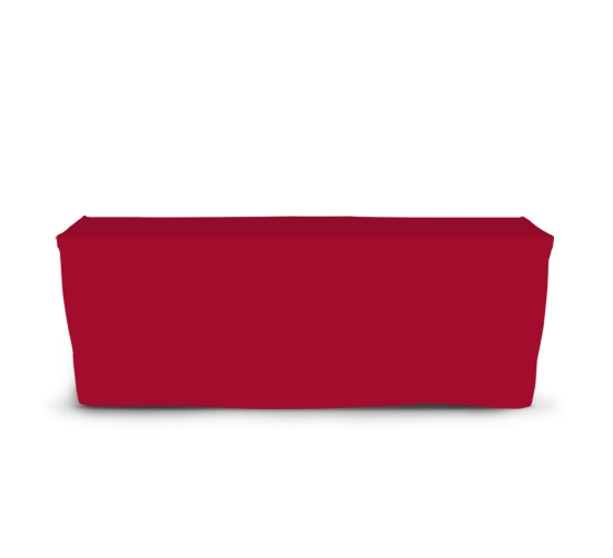 8' Fitted Table Covers - Red - Zipper Back