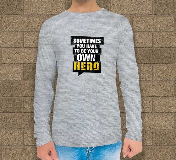 Custom Grey Printed Long Sleeves T-Shirt - Crew Neck