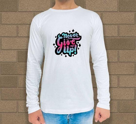 Custom White Printed Long Sleeves T-Shirt - Crew Neck