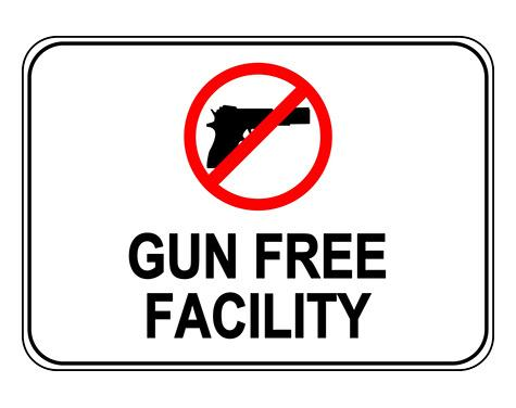 Gun Free Facility Label Sign