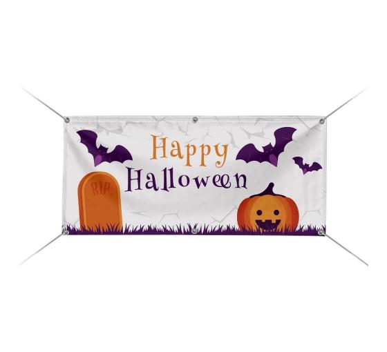 Happy Halloween Pumpkins Scary 13 Oz Vinyl Banner Sign w// Grommets 3 ft x 6 ft