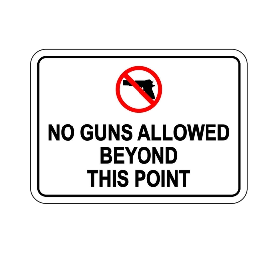 No Guns Allowed Beyond This Point Sign