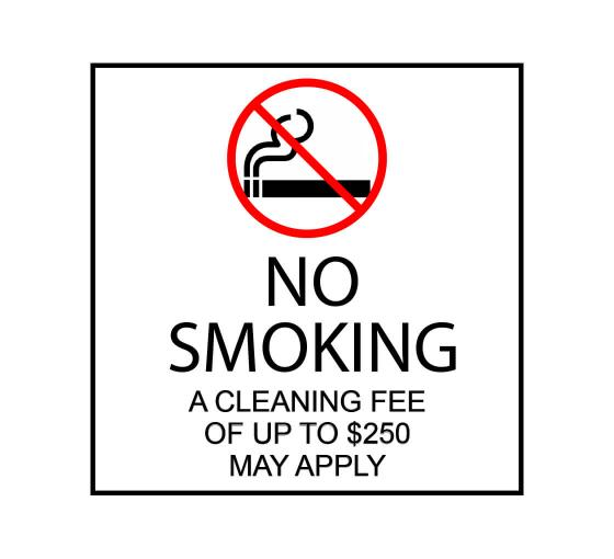 No Smoking Cleaning Fee May Apply Label